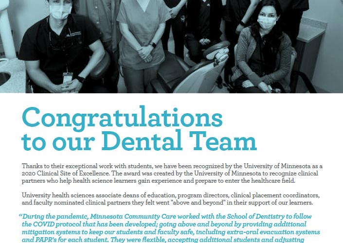 Congratulations to our Dental Team!