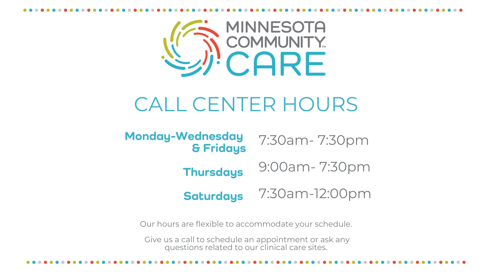 Call Center Hours Monday-Saturday